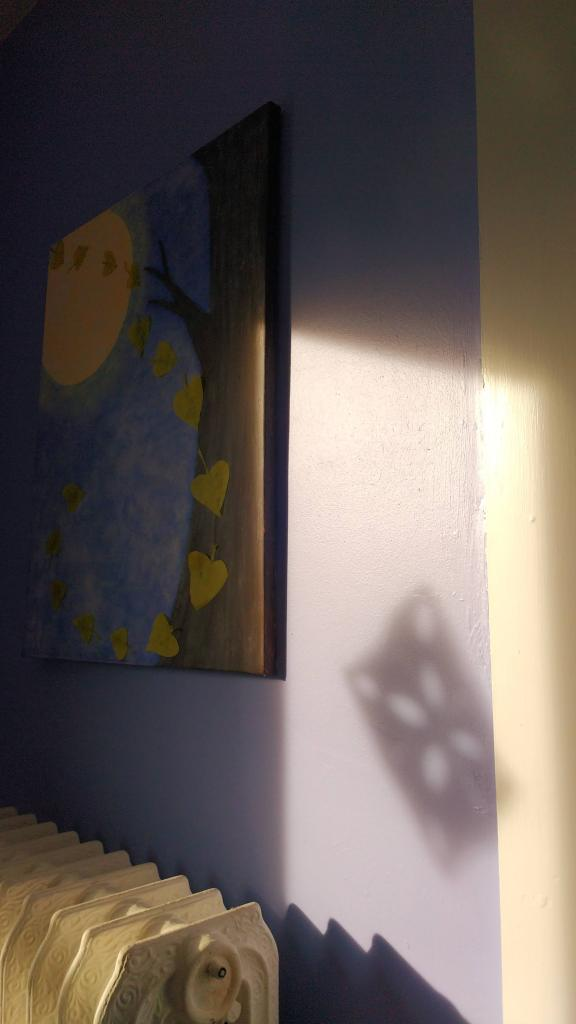 photo of painting on wall, shadow of paper snowflake